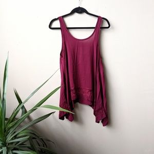 Intimately Free People Maroon Lace Tunic Tank szXS
